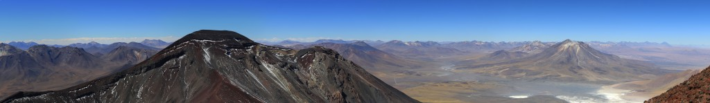 In this zoomed panorama, on the far right hand side you can see Licancabur, San Pedro de Atacama's signature mountain, as well as Aguas Calientes and Lascar.